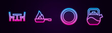 Set Line Wooden Table With Chair, Frying Pan, Plate And Kettle Handle. Glowing Neon Icon. Vector
