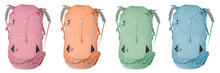 Different Hiking Backpacks On White Background, Collage. Banner Design