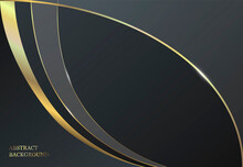 Abstract Design. Luxurious Dark Gray Background With Golden Lines.