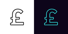 Outline Pound Sterling, Icon With Editable Stroke. Linear British Pound Sign Silhouette. Money