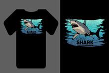 Mockup T-shirt Vector Shark Retro Vintage