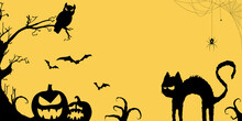 Halloween Spooky Cat With Pumpkins