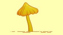 Realistic Yellow Mushroom Isolated On Light Orange Background.