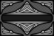 Vector Decorative Frame, Ornate Decoration With Flourishes For Monochrome Tragic Invitation, Vintage Filigree Dividers With Curls And Dots, Border With Sophisticated Indian Design Elements On Dark.