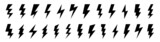 Lightning flat icons set. Outline and silhouette flash symbols. Lightning, high voltage or charge signs. Vector elements.