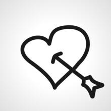 Arrow Pierces The Heart Vector Line Icon. Arrow In Heart Linear Outline Icon.