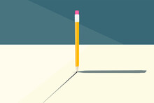 Conceptual Vector Illustration With A Simple Pencil Standing Upright On A Table And A Broken Tip. Drawing On Paper. Straight Line. Object Shadow. The Image Is In A Minimalistic Style.