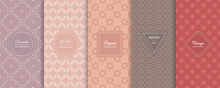 Vintage Geometric Seamless Patterns. Vector Set Of Stylish Pastel Backgrounds With Elegant Minimal Labels. Abstract Modern Ornament Texture. Trendy Nude Color Palette. Design For Print, Decor, Package