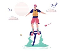 Man Flying On Flyboard, Vector Illustration. Flyboarding, Extreme Water Sports, Beach Activities. Flyboard Water Jetpack