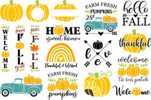 Set Of Autumn Vector Illustrations, Fall Clip Art For Cutting Machine, Fall Home Sign Design, Pumpkin Clipart, Vertical Porch Sign, Old Vintage Truck With Pumpkins