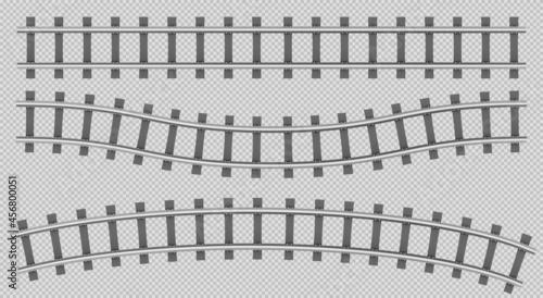 Obraz na plátně Train rails top view, railway track construction