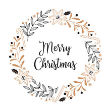 Christmas Card With Poinsettia Flowers, Candy Cane, Branches, Berries And Leaves On A White Background. Round Wreath In Black And Gold, Doodle Style.