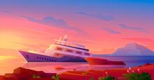 Sunken Cruise Ship In Ocean Harbor At Sunset