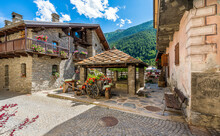 Idyllic Sight In The Beautiful Village Of Etroubles, In The Great St Bernard Valley. Aosta Valley, Italy.