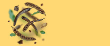 Creative Composition. Floating Organic Carob Pods, Seeds, Leafs. Food Background. Natural Vegan Eating. Flying Organic Product. Levitation Concept, Falling Healthy Sweets. Horizontal Banner.Copy Space