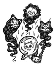 Vector Composition With Demon Cat, Ghost, Crystal Ball With A Skull Inside. Adult Coloring Book Page, Tattoo Art, T-shirt Design