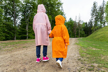Pair Of Cute Little Caucasian Sibling Kids In Bright Waterproof Raincoats Walking Under Rain In Scenic Moody Dirt Forest Road Outside. Autumn Weather Outdoor Hiking. Children Friendship And Support
