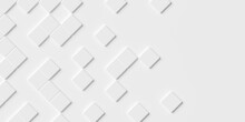 Random Rotated Beveled White Cube Boxes Block Background Wallpaper Banner With Copy Space