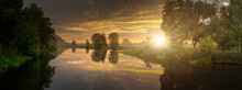 Panorama Of A Sunset At The River