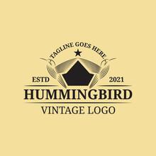Hummingbird And Crown Decoration Vintage Logo Design.