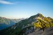 Leinwandbild Motiv 朝日できれいな燕岳山頂付近の山小屋から見える風景 The view from the mountain lodge near the summit of Mt. Tsubakuro in the morning sun