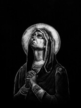 A Marble Engraving Representing The Virgin Mary In The Orthodox Cemetery In Reghin City - Romania