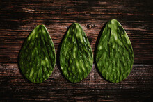 Leave Of Cactus Nopales Mexican Food Ingredient Green Food. Top View In Mexico