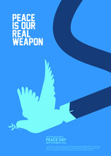 International Peace Day Poster Design With Dove And Bomb Vector Illustration.