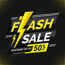 Flash Sale Discount Banner Template With Lightning Illustration