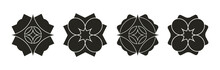 Set Of Black And White Silhouettes Of Leaves. Abstract Geometric Shape Design Element For Wallpaper, Border And Symbol. Vector