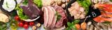Fototapeta Kawa jest smaczna - Food high in vitamin B on light gray background.