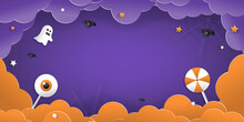 Happy Halloween Greeting Banner Or Party Invitation With Night Clouds, Pumpkins, Bats, And Cute Ghosts, Vampires On A Violet Background. Paper Cut And Papercraft Style.Vector Illustration.