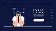 Fear Of Spiders, Arachnophobia Web Template. Scared Frightened Man Character With Hands On The Face Is Afraid Of Spiders. Irrational Fears, Phobia, Panic Attack For Homepage.Flat Vector Illustration