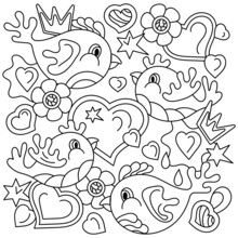 Coloring Book, Doodles Birds. Flowers Hearts Abstract Shapes, Hand Drawn Vector Illustartions On White.