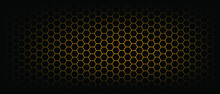 Abstract Yellow, Orange Beehive Raster Background Plate Icon. Honeycomb Bees Hive Cells Pattern. Vector Hexagon Cell Signs