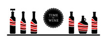 Big Set Of Icons For Wine Or Other Alcoholic Bottles. Glass Bottles Full Of Wine In A Graphic Style
