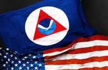 Flag Of NOAA Along With A Flag Of The United States Of America As A Symbol Of Unity Between Them, 3d Illustration