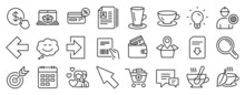 Set Of Line Icons, Such As Light Bulb, Speech Bubble, Calendar Icons. Target, Teacup, Left Arrow Signs. Engineer, Add Products, Tea Cup. Mint Tea, Research, Cashback. Comment, Mouse Cursor. Vector