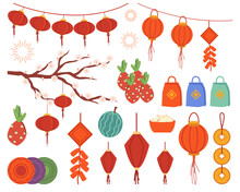 Set Of Chinese New Year Flat Cartoon Isolated Icons. Vector Hanging Garlands Detectors, Red Paper Lanterns, Coins And Fireworks, Blooming Sakura Branch. Watermelon, Dragon Fruit, Gift Bags, Plates