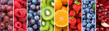 Fruits. Background Of Mixed Ripe Fruits And Berries. Fresh Food