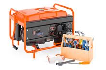 Gasoline Generator With Toolbox. Service And Repair Of Gasoline Generator, 3D Rendering