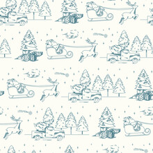 Blue Christmas Toile Pattern Repeat Fabric. Seamless Print Background Design. Vector Illustration. Surface Pattern Design. Great For Home Decor And Retro Sewing Projects.