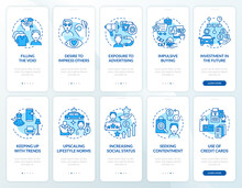 Consumerism Blue Onboarding Mobile App Page Screen Set. Excessive Buying Reasons Walkthrough 5 Steps Graphic Instructions With Concepts. UI, UX, GUI Vector Template With Linear Color Illustrations