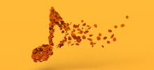 Musical Note Decomposing Into Autumn Leaves. Copy Space. 3D Illustration.