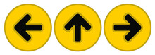 Arrow Sign Set On Yellow Circle For Direction ,one Way, Social Distancing In COVID-19. Symbol Vector Illustration