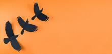 Three Black Crows On An Orange Background.