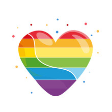 Rainbow Heart, Heart Icon, Lgbt Color. Symbol Of Homosexual Love. Isolated Vector Illustration. LGBT Community Sign On Transparent Background. Postcard, Banner, Poster, Flyer.