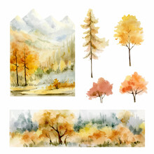 A Watercolor Vector Set Of Autumn Forest Background And Trees.