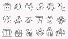Charity Line Icon Set. Collection Of Handshake, Donate, Gift Box, Help And More. Editable Stroke.