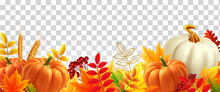 White And Yellow Pumpkins, Orange Leaves On Transparent Background. Autumn Festival Invitation. Border From Autumn Leaves And Pumpkins. Postcard Or Banner. 3d Realistic Vector Illustration.